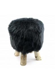 Tabouret en Mouton Islandais Noir
