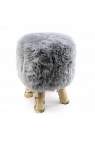 Gray Sheepskin Stool