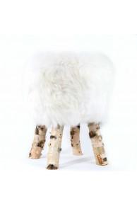 Tabouret en Mouton Merinos Natruel