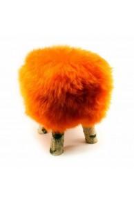 Orange Sheepskin Stool