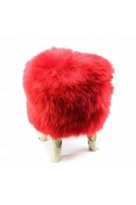 Red Sheepskin Stool