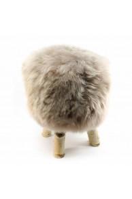 Greige Sheepskin Stool