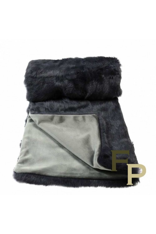 Gray Rabbit Fur Blanket
