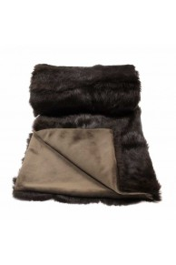 Large Lined Dark Gray Blanket in Rabbit Fur