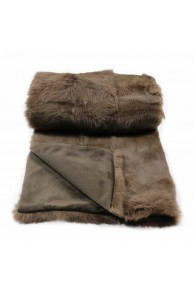 Large Dark Brown Blanket in Rabbit Fur