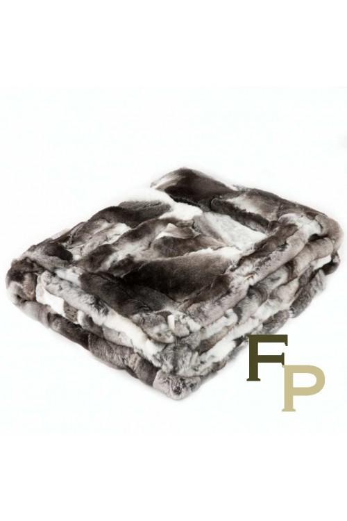 Grey Blanket in Rex Rabbit Fur