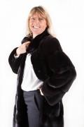 Long Manteau Noir en Vison Blackglama