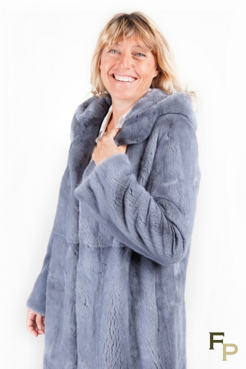 Gray Blue Mink Coat with Hood