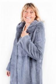 Manteau de Vison Gris Argent à Capuche