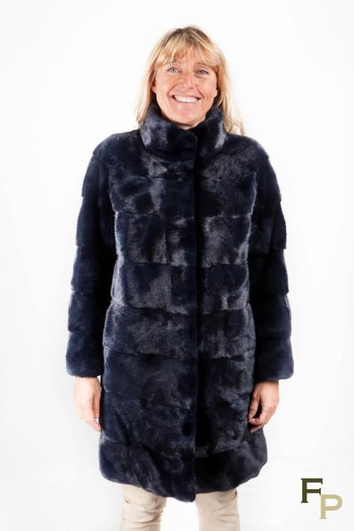 Manteau de Vison Bleu Marine