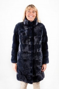 Navy Blue Mink Coat