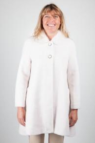 Manteau en Laine d'Agneau et Col de Vison Blanc