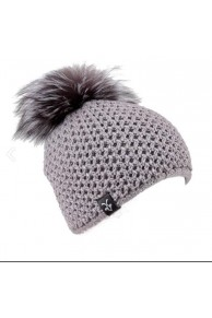 Grey Wool Cap with Fox Fur Pompom