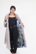 """Manteau Ample avec Ceinture en Fourrure de Vison """"Pink Metalic"""""""