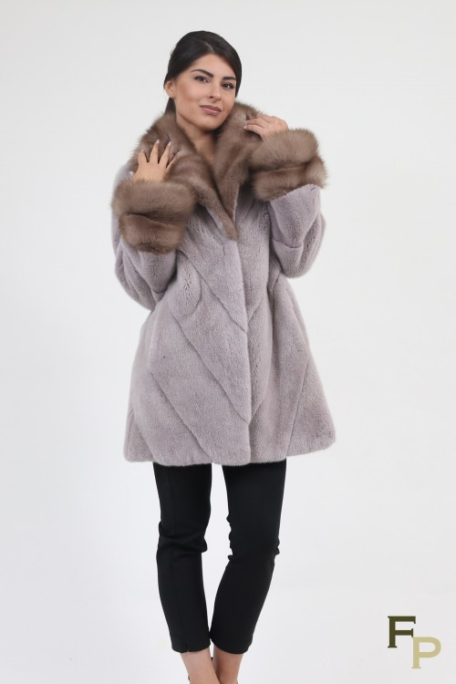 "Coat ""Louma"" in Mink and Marten Furs, Colour ""Pink Metalic"""