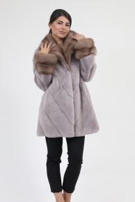"Coat ""Louma"" in Mink and Marten Furs, Colour ""Pink Metalic"""