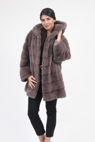 Loose Mink Fur Caot with Hood
