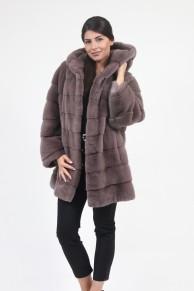 Manteau Loose à Capuche en Fourrure de Vison