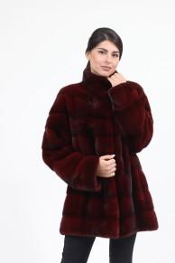 Manteau en Fourrure de Vison Bordeaux