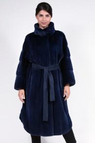 "Manteau ""Nautic"" en Fourrure de Vison Bleu"