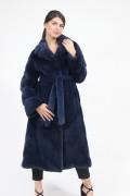 """Manteau """"Rozy"""" en Fourrure de Vison Bleu"""