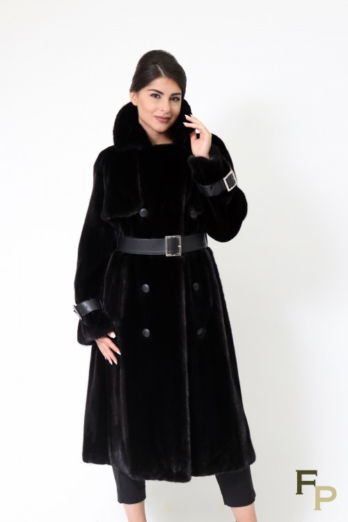 Trench Coat in Blackglama Mink Fur