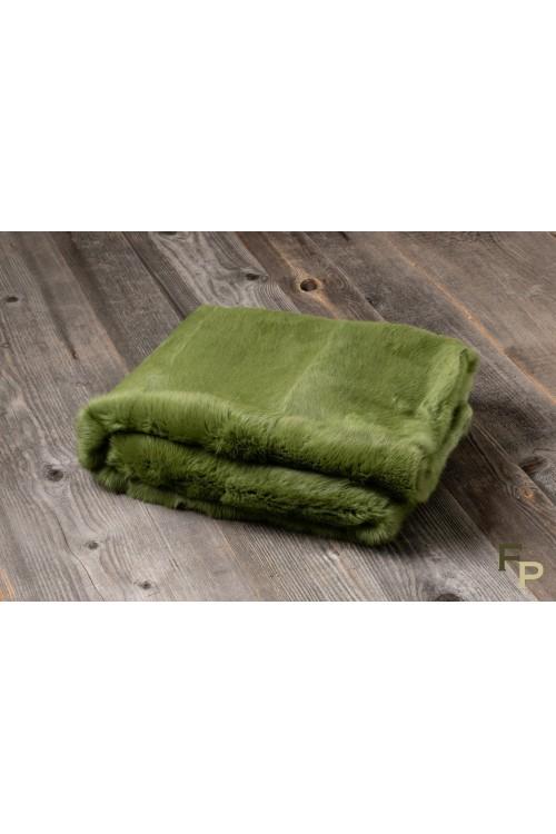 Plaid en Fourrure de Lapin Vert