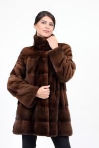 Mid-lenght Coat in Brown Mink Fur