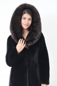 Long Coat with Hood in Blackglama Mink & Sable Furs