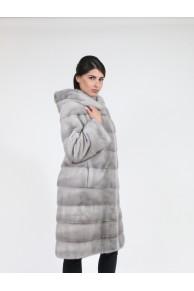 Manteau à Capuche en Fourrure de Vison Gris Sapphire