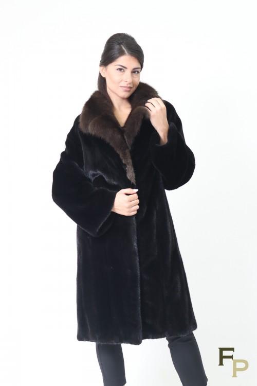Manteau en Fourrure de Vison Noir et Col en Zibeline