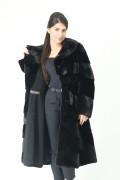 Manteau en Fourrure de Vison Noir Diagonal