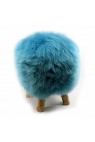 Tabouret en Peau de Mouton Bleu
