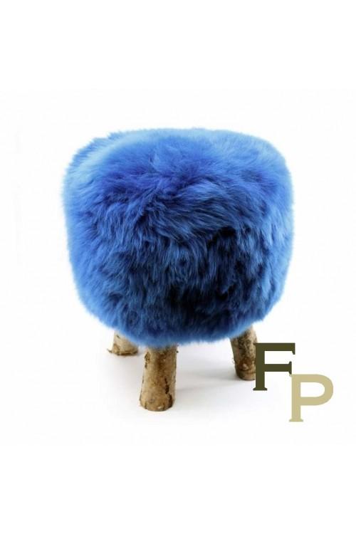 Tabouret en Peau de Mouton Bleu Vif