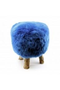 Tabouret en Peau de Mouton Rasé Bleu Vif